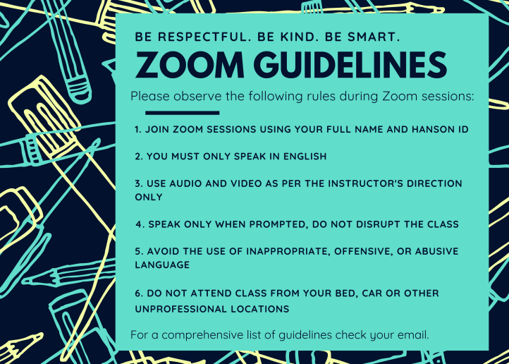 Zoom rules poster